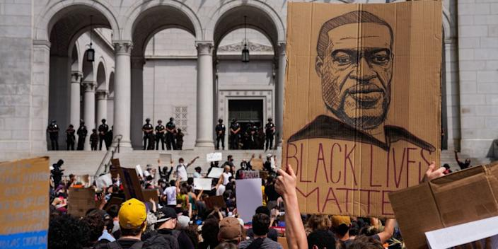 """Protesters outside City Hall in Los Angeles on June 2. <span class=""""copyright"""">(Kent Nishimura/Los Angeles Times)</span>"""