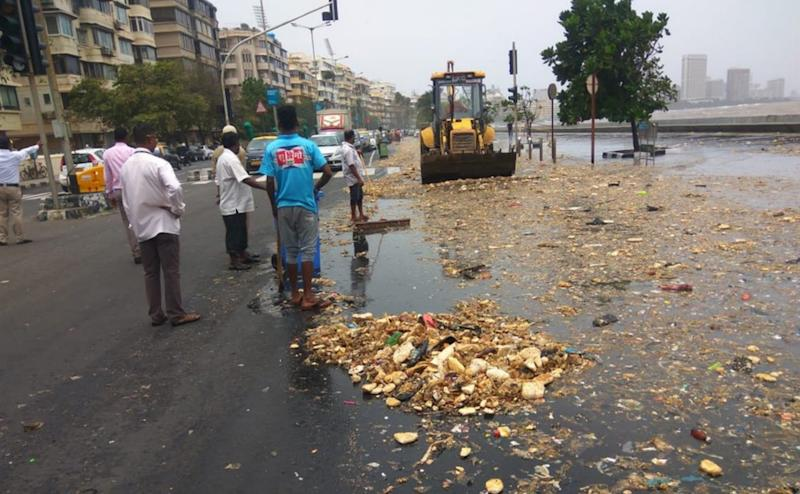 Officials said that garbage including plastic and thermocol glass bottles, is washed onto the shore during high tide. Twitter/@DighavkarKiran
