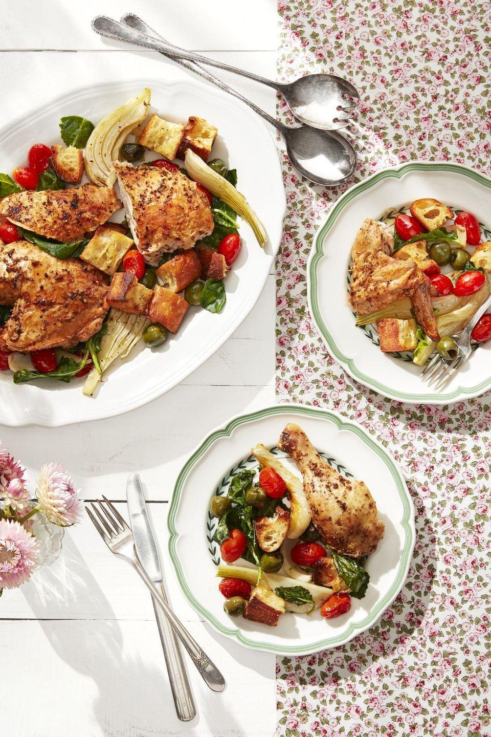 """<p>Think of roasted chicken, with its crispy skin, as the adult-pleasing alternative to chicken nuggets. If you can get your picky eaters to go for a bit of mild roasted fennel and a tomato or two, all the better. </p><p><strong><a href=""""https://www.countryliving.com/food-drinks/a30613306/roasted-chicken-with-fennel-tomatoes-recipe/"""" rel=""""nofollow noopener"""" target=""""_blank"""" data-ylk=""""slk:Get the recipe"""" class=""""link rapid-noclick-resp"""">Get the recipe</a>.</strong></p><p><a class=""""link rapid-noclick-resp"""" href=""""https://www.amazon.com/Nordic-Ware-Natural-Aluminum-Commercial/dp/B0049C2S32/?tag=syn-yahoo-20&ascsubtag=%5Bartid%7C10050.g.4772%5Bsrc%7Cyahoo-us"""" rel=""""nofollow noopener"""" target=""""_blank"""" data-ylk=""""slk:SHOP BAKING SHEETS"""">SHOP BAKING SHEETS</a></p>"""