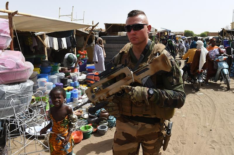 A French soldier patrols a market in Gao, northern Mali (AFP Photo/Philippe Desmazes)