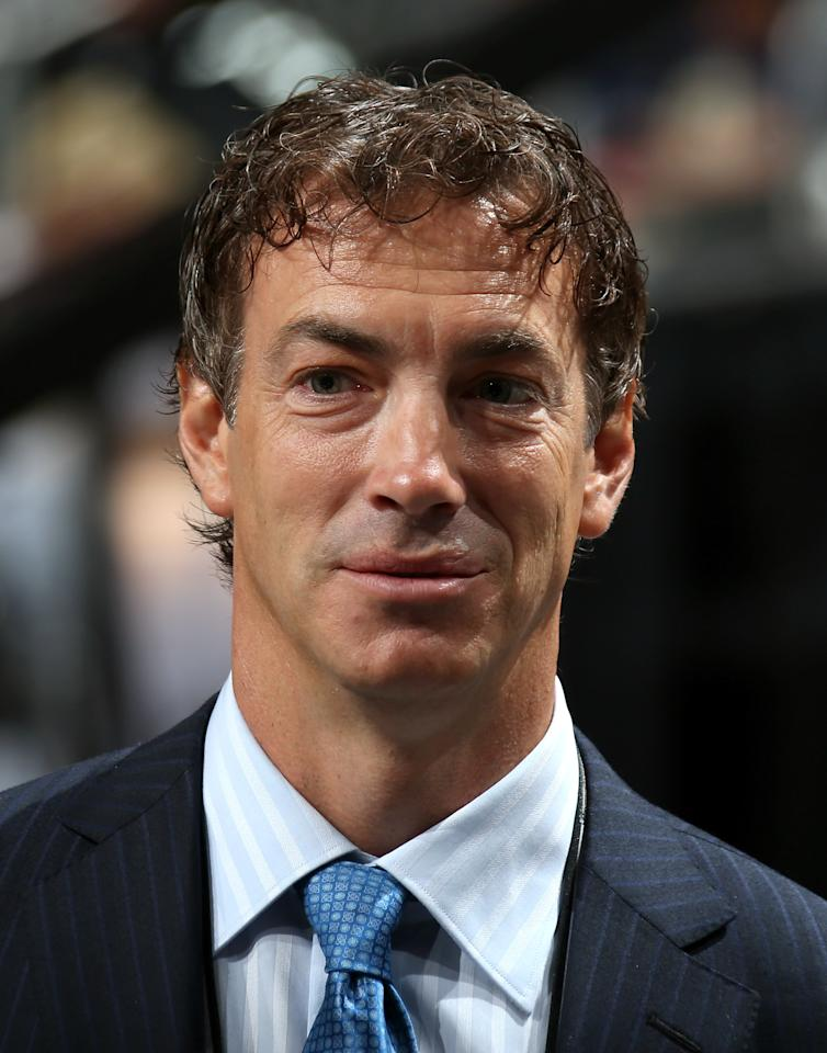 PITTSBURGH, PA - JUNE 22:  Joe Sakic of the Colorado Avalanche looks on from the draft floor during Round One of the 2012 NHL Entry Draft at Consol Energy Center on June 22, 2012 in Pittsburgh, Pennsylvania.  (Photo by Bruce Bennett/Getty Images)