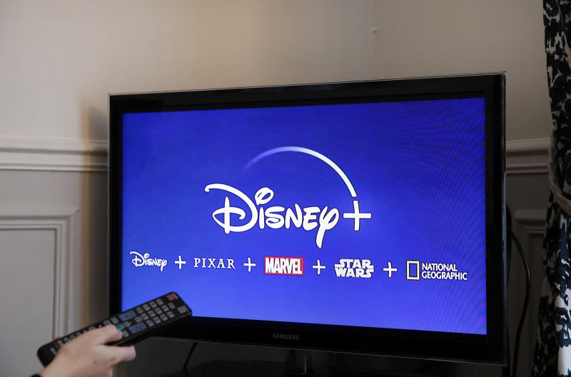 PARIS, FRANCE - NOVEMBER 08: In this photo illustration, the Disney + logo is displayed on the screen of a television on November 08, 2019 in Paris, France. The Walt Disney Company will launch its streaming service (Svod) Disney plus in the United States on November 12, 2019, for Europe, it will be necessary to wait until the beginning of the year 2020. (Photo by Chesnot/Getty Images)