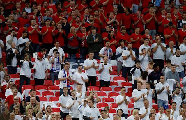 <p>Soccer Football – 2018 World Cup Qualifications – Europe – England vs Slovakia – London, Britain – September 4, 2017 England fans Action Images via Reuters/Carl Recine </p>