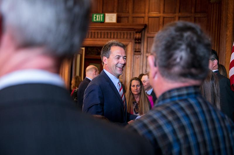 Montana Gov. Steve Bullock after signing several bills into law earlier this month in Helena. (Photo: Ilana Panich-Linsman for HuffPost)