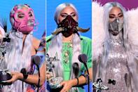 """<p>Lady Gaga proved safety and style are not mutually exclusive. From an astronaut helmet to multiple <em>Chromatica</em>-inspired face masks, the star <a href=""""https://people.com/style/lady-gaga-mtv-vmas-2020-face-mask-roundup/"""" rel=""""nofollow noopener"""" target=""""_blank"""" data-ylk=""""slk:wore six different couture creations on her face"""" class=""""link rapid-noclick-resp"""">wore six different couture creations on her face</a> at the 2020 MTV VMAs.</p>"""