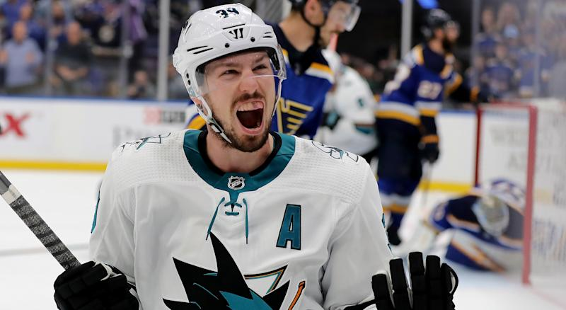 Logan Couture will lead the San Jose Sharks into the 2019-20 campaign after the departure of Joe Pavelski. (Photo by Elsa/Getty Images)