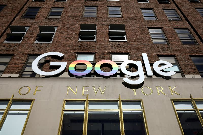 FILE PHOTO: The Google logo is displayed outside the company offices in New York