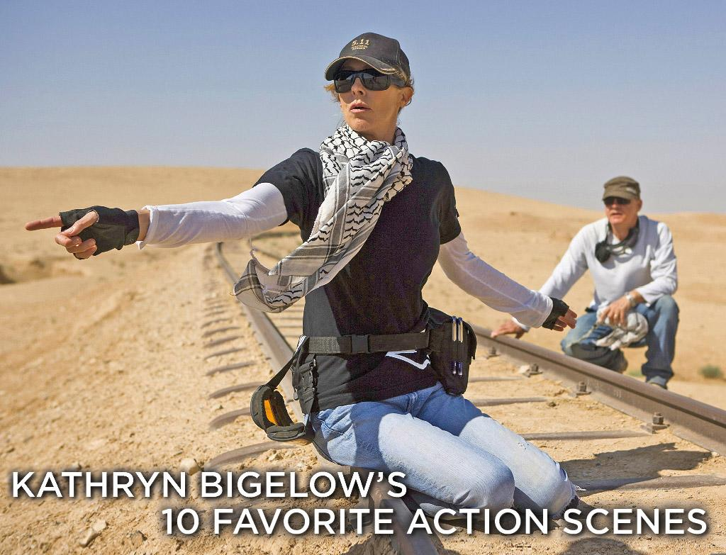 """Director <a href=""""http://movies.yahoo.com/movie/contributor/1800091098"""">Kathryn Bigelow</a> knows action. From the Western vampires in """"<a href=""""http://movies.yahoo.com/movie/1800099520/info"""">Near Dark</a>,"""" to the surfing bank robbers in """"<a href=""""http://movies.yahoo.com/movie/1800163613/info"""">Point Break</a>,"""" to the millennial hysteria of """"<a href=""""http://movies.yahoo.com/movie/1800247074/info"""">Strange Days</a>,"""" she has delivered kinetic thrills with a distinctly gritty feel. Her new film, """"<a href=""""http://movies.yahoo.com/movie/1809914561/info"""">The Hurt Locker</a>,"""" puts viewers on the front lines of the Iraq War with a bomb disposal unit as they do the most dangerous job imaginable. It's a movie that literally starts with a bang and doesn't let up the tension for two hours.   We asked Bigelow to give us a list of her ten favorite action scenes in movies. Click through to see which films inspired and thrilled her the most."""