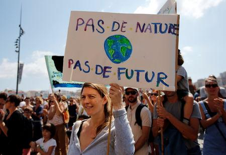 "Environmental activists gather to urge world leaders to take action against climate change in Marseille, France,  September 8, 2018. The placard reads ""No nature, no future"".   REUTERS/Jean-Paul Pelissier"