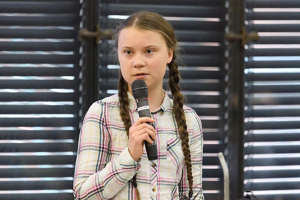 Greta Thunberg addresses politicians, media and guests with the Houses of Parliament on April 23, 2019 in London, England. [Photo: Getty]