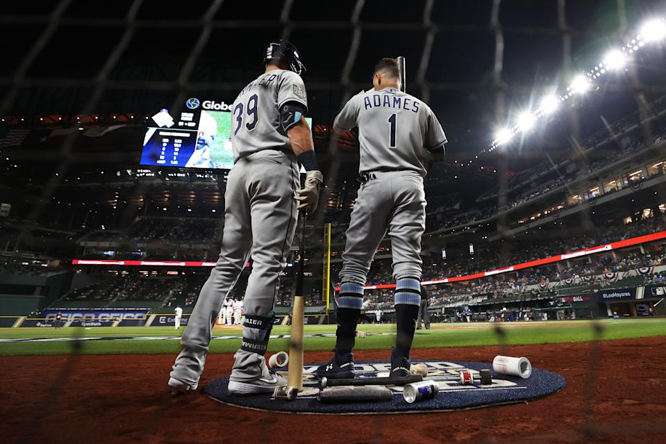ARLINGTON, TX - OCTOBER 21: Kevin Kiermaier #39 and Willy Adames #1 of the Tampa Bay Rays look on from the on deck batting circle in the second inning during Game 2 of the 2020 World Series between the Los Angeles Dodgers and the Tampa Bay Rays at Globe Life Field on Wednesday, October 21, 2020 in Arlington, Texas. (Photo by Alex Trautwig/MLB Photos via Getty Images)