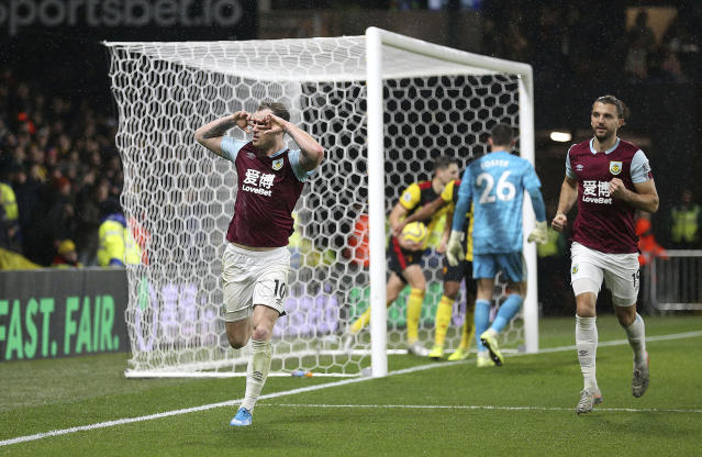 Burnley's Ashley Barnes celebrates scoring his side's second goal during the English Premier League soccer match between Burnley and Watford, at Vicarage Road, Watford, England, Saturday, Nov. 23, 2019. (Nigel French/PA via AP)