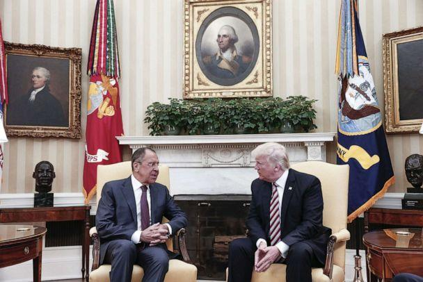 PHOTO: President Donald J. Trump meets with Russian Foreign Minister Sergei Lavrov in the Oval office at the White House in Washington, D.C., May 10, 2017 in a photo made available by the Russian Foreign Ministry. (Russian Foreign Ministry via AFP/Getty Images)