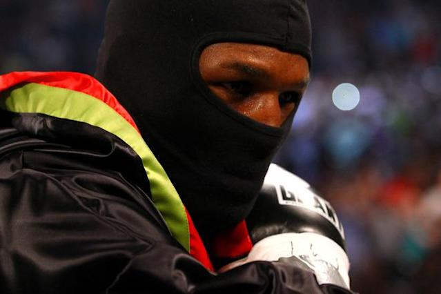 ATLANTIC CITY, NJ - APRIL 28: Bernard Hopkins looks on as he enters the ring to fight against Chad Dawsonduring their WBC & Ring Magazine Light Heavyweight Title fight at Boardwalk Hall Arena on April 28, 2012 in Atlantic City, New Jersey. (Photo by Al Bello/Getty Images)