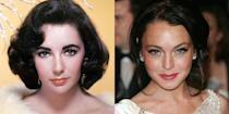 """<p>While Lindsay Lohan normally sports red hair, she was temporarily brunette in 2006, which drew attention to her violet-green eyes making her a dead ringer for Elizabeth Taylor. And we're not the only ones who think so—Lohan portrayed Taylor in the biopic <em><a href=""""https://www.businessinsider.com/watch-lindsay-lohan-as-elizabeth-taylor-in-first-liz-and-dick-trailer-2012-9"""" rel=""""nofollow noopener"""" target=""""_blank"""" data-ylk=""""slk:Liz and Dick"""" class=""""link rapid-noclick-resp"""">Liz and Dick</a>. </em></p>"""