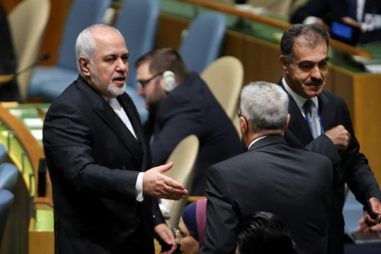 Iranian Foreign Minister Mohammad Javad Zarif (L), at the United Nations General Assembly in September 2019 in New York, where the US restricted his movements (AFP Photo/SPENCER PLATT)