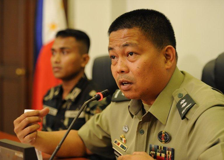 Philippine Army spokesman, Colonel Randolph Cabangbang, pictured during a press conference in Manila, on March 8, 2013. A group of 21 UN peacekeepers seized by Syrian rebels on the Golan were still being held on Saturday after a two-hour truce during which their release had been expected, a watchdog said