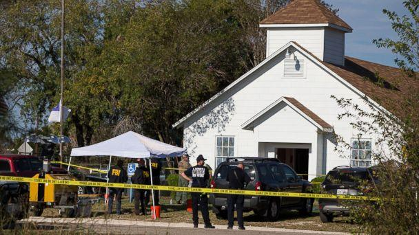 PHOTO: Law enforcement officials works at the scene of a fatal shooting at the First Baptist Church in Sutherland Springs, Texas, Nov. 5, 2017. (Nick Wagner/Statesman.com via AP)