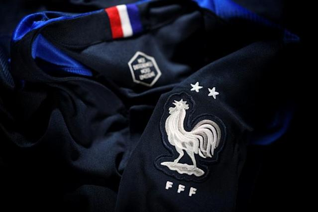 The new jersey of the France's national football team is unveiled after the team won their second World Cup (AFP Photo/Franck FIFE)