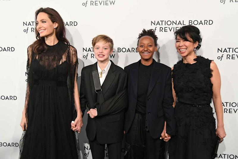 Angelina attended the National Board of Review Awards Gala with Shiloh, Zahara and Loung Ung. Source: Getty