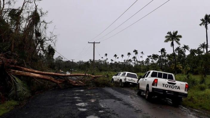 A fallen tree due to Cyclone Yasa lies on Transinsular Road in Fiji