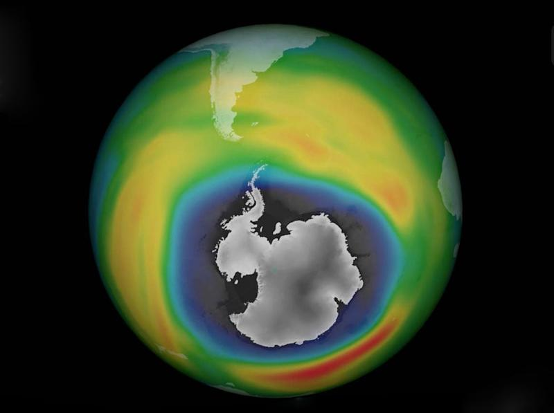 An image of the ozone layer over Antarctica from early October 2015: German Aerospace Centre
