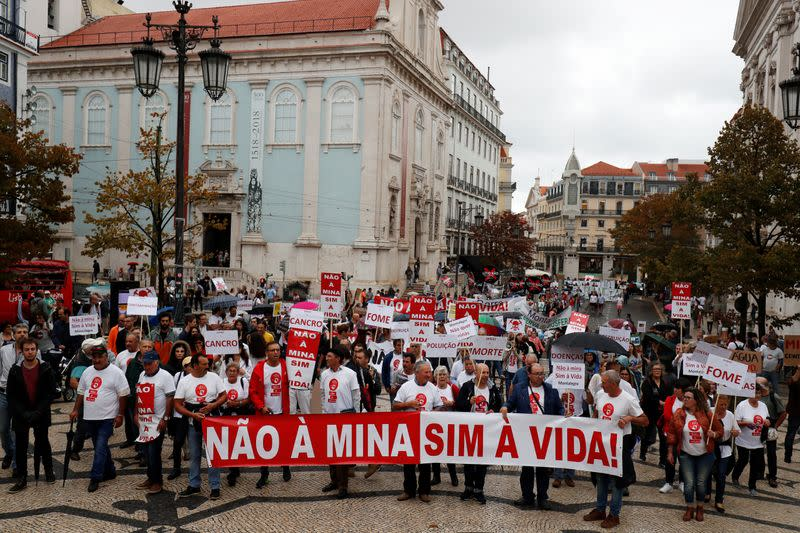 Demonstrators protest against lithium mines in downtown Lisbon