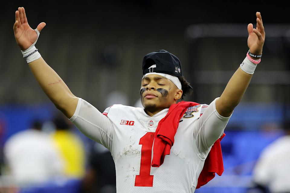 Ohio State QB Justin Fields can help his stock against Alabama in the CFP title game. (Photo by Kevin C. Cox/Getty Images)