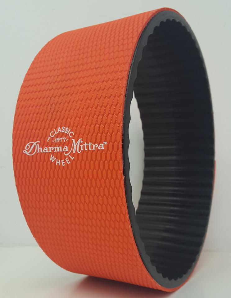 "<p>Yoga wheels have become a staple for intermediate to advanced practitioners, used to enhance stretches and poses; they can also provide a nice destressing back massage. This one, designed in conjunction with legendary yogi Sri Darma Mittra, has a sticky rubber surface with extra grip to avoid slips. $50, <a rel=""nofollow"" href=""https://www.dharmayogawheel.com/"">dharmayogawheel.com</a> </p>"
