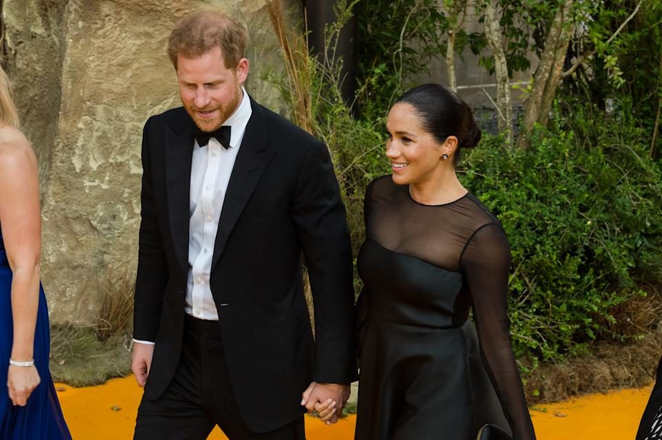Prince Harry and Meghan, Duchess of Sussex, attend the European film premiere of Disney's 'The Lion King' at Odeon Luxe Leicester Square on 14 July, 2019 in London, England (Photo by WIktor Szymanowicz/NurPhoto via Getty Images)