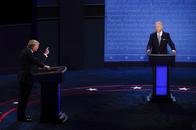US President Donald Trump and Joe Biden faced off in the Covid-safe debate Wednesday. Source: Getty