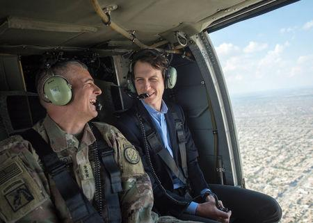 Jared Kushner, Senior Advisor to President Donald J. Trump, is pictured during a helicopter transit over Baghdad, Iraq, in this handout photo