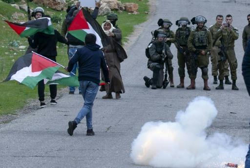 Palestinians protesting against settlements clashed with members of Israel's border police in the occupied West Bank