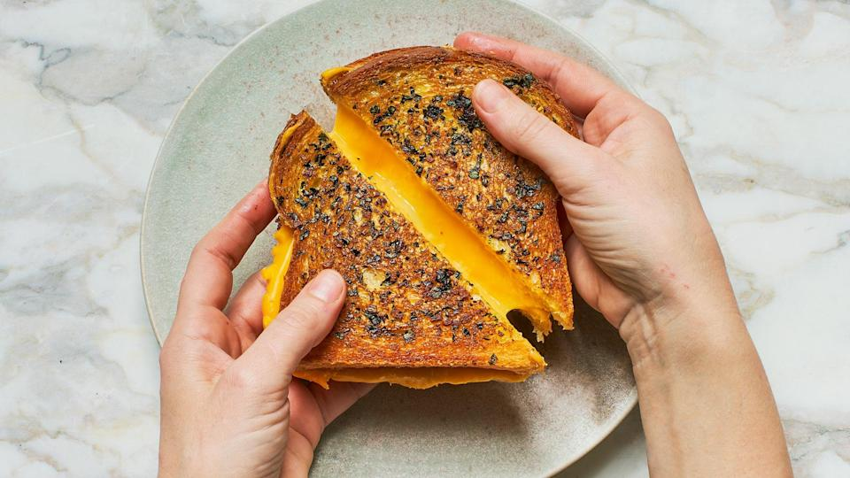 """<a href=""""https://www.bonappetit.com/recipe/garlic-bread-grilled-cheese?mbid=synd_yahoo_rss"""" rel=""""nofollow noopener"""" target=""""_blank"""" data-ylk=""""slk:See recipe."""" class=""""link rapid-noclick-resp"""">See recipe.</a>"""