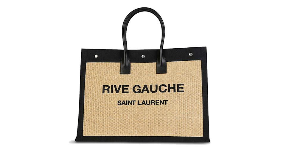 SAINT LAURENT Noe branded woven tote bag