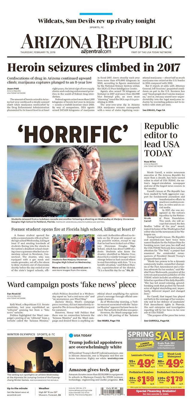 <p>Published in Phoenix, Ariz. (<em>Newseum)</em> </p>