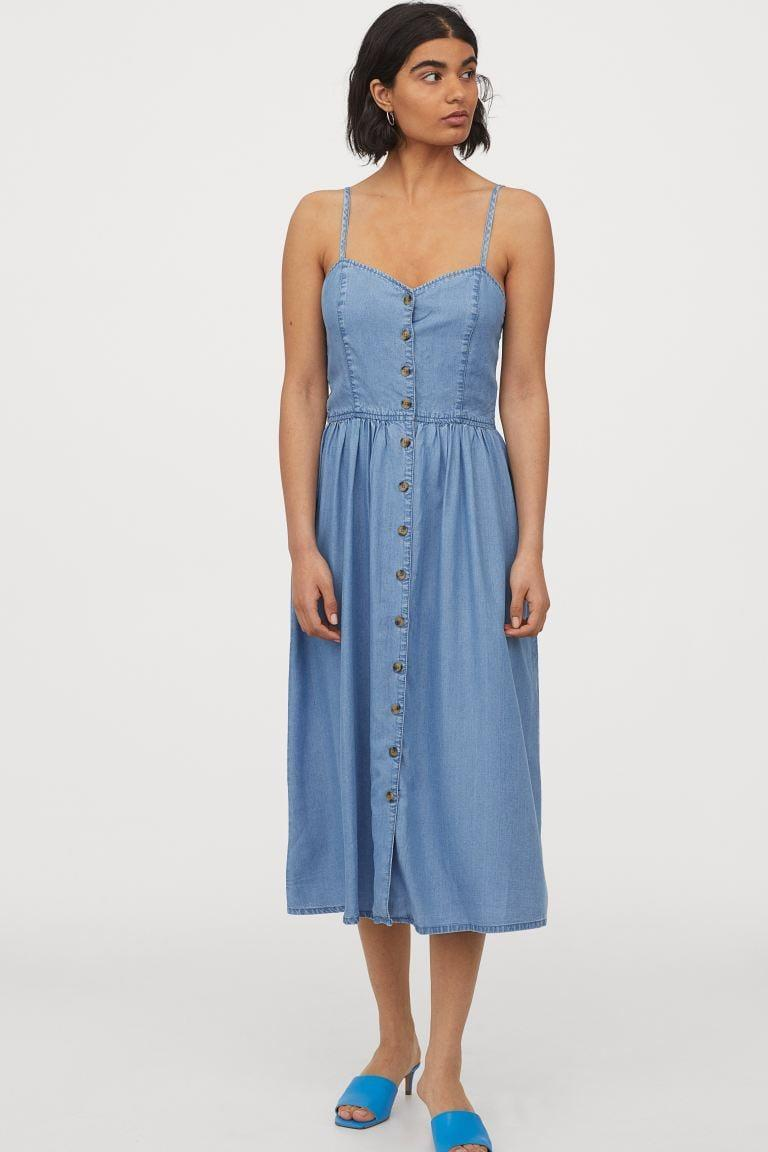 "<p>Hot days require this <a href=""https://www.popsugar.com/buy/HampM-Lyocell-Dress-581269?p_name=H%26amp%3BM%20Lyocell%20Dress&retailer=www2.hm.com&pid=581269&price=35&evar1=fab%3Aus&evar9=35329485&evar98=https%3A%2F%2Fwww.popsugar.com%2Ffashion%2Fphoto-gallery%2F35329485%2Fimage%2F47550197%2FHM-Lyocell-Dress&list1=shopping%2Cdenim%2Csummer%20fashion%2Cfashion%20shopping&prop13=mobile&pdata=1"" class=""link rapid-noclick-resp"" rel=""nofollow noopener"" target=""_blank"" data-ylk=""slk:H&amp;M Lyocell Dress"">H&amp;M Lyocell Dress</a> ($35).</p>"