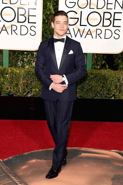 Rami Malek in Dior Homme at the 73rd Golden Globe Awards.