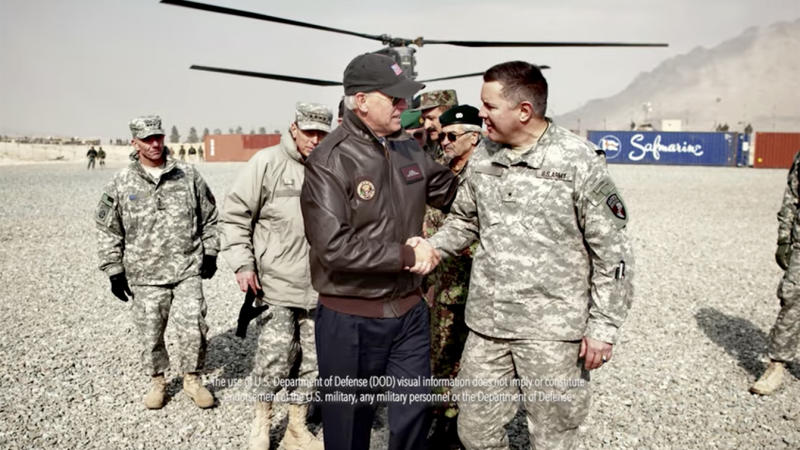 "Joe Biden is seen with members of the military in a screengrab from ""Sergeant King 