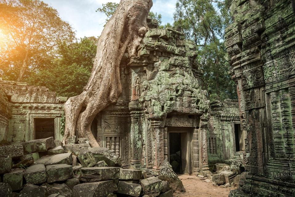 <p>Angkor Wat, first a Hindu and then Buddhist temple in Cambodia, is the largest religious monument in the world. </p>