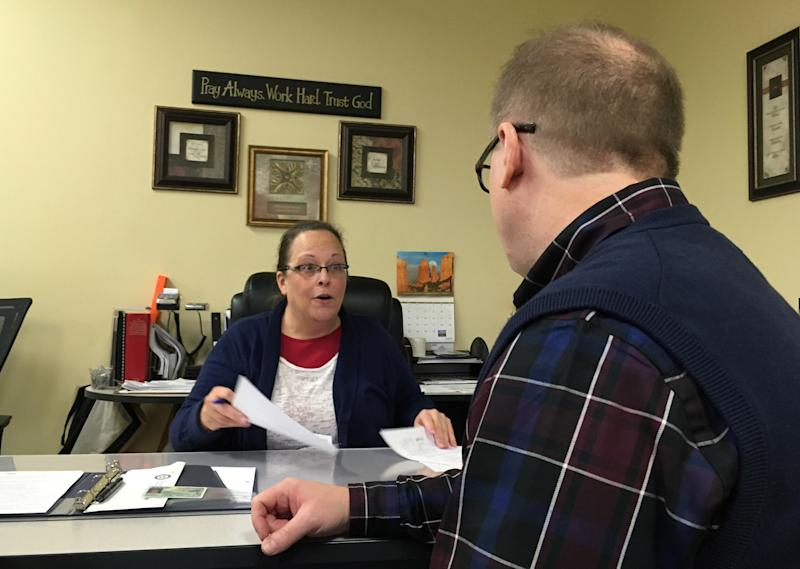 Kim Davis lost her re-election bid for Rowan County clerk in Kentucky on Tuesday to her Democratic challenger. (ASSOCIATED PRESS)