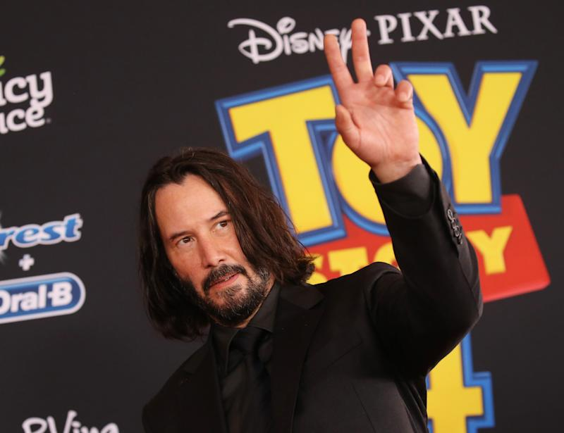 "LOS ANGELES, CALIFORNIA - JUNE 11: Keanu Reeves arrives to the Los Angeles premiere of Disney and Pixar's ""Toy Story 4"" held on June 11, 2019 in Los Angeles, California. (Photo by Michael Tran/FilmMagic)"