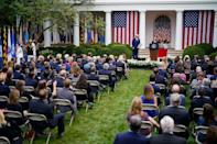 "<p>Trump celebrates the appointment of Supreme Court Justice Amy Coney Barrett with an event in the White House rose garden on Sept. 26, 2020.</p> <p>Prior to her expedited confirmation hearings — <a href=""https://people.com/politics/amy-coney-barrett-confirmed-supreme-court-by-senate/"" rel=""nofollow noopener"" target=""_blank"" data-ylk=""slk:just one week before the November 2020 election"" class=""link rapid-noclick-resp"">just one week before the November 2020 election</a> — Supreme Court nominee Amy Coney Barrett was celebrated with a mostly unmasked, not socially distanced party at the White House. It was another moment of the administration's defiance toward the COVID-19 pandemic, but ended up having consequences: <a href=""https://people.com/politics/white-house-elects-not-to-perform-contact-tracing-after-suspected-super-spreader-event-report/"" rel=""nofollow noopener"" target=""_blank"" data-ylk=""slk:more than 10 people"" class=""link rapid-noclick-resp"">more than 10 people</a>, including the president and first lady, tested positive for coronavirus in the days afterward. Former New Jersey Governor Chris Christie, one of those infected, was hospitalized for nearly two weeks. Despite the infections, the <a href=""https://people.com/politics/white-house-elects-not-to-perform-contact-tracing-after-suspected-super-spreader-event-report/"" rel=""nofollow noopener"" target=""_blank"" data-ylk=""slk:White House reportedly turned down"" class=""link rapid-noclick-resp"">White House reportedly turned down</a> an offer from the Centers for Disease Control and Prevention to assist with contact tracing.</p>"