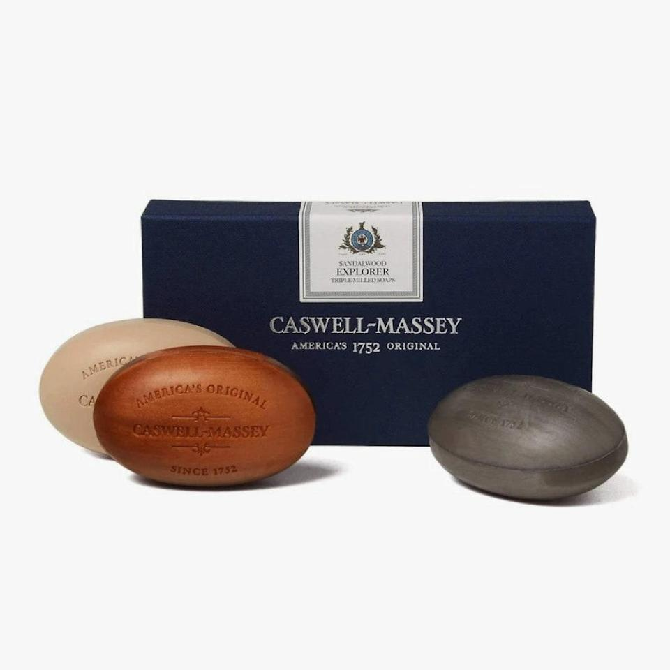 """$29, FREEMANS SPORTING CLUB. <a href=""""https://freemanssportingclub.com/collections/accessories/products/caswell-massey-explorer-three-soap-set-sandalwood"""" rel=""""nofollow noopener"""" target=""""_blank"""" data-ylk=""""slk:Buy Now"""" class=""""link rapid-noclick-resp"""">Buy Now</a><br>"""