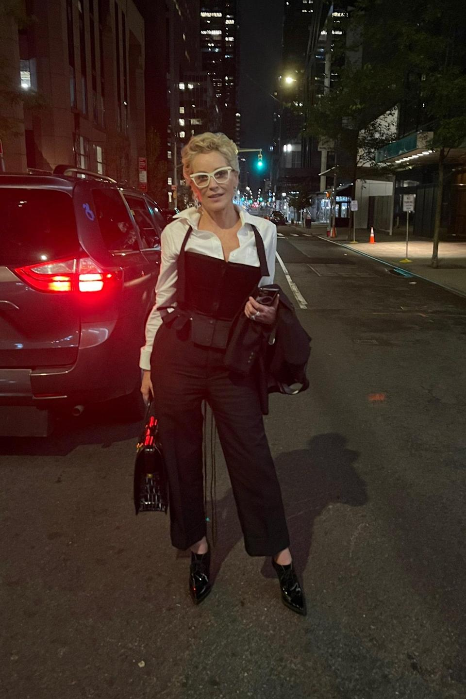 3:56 a.m. Sharon Stone live, from the streets of New York.