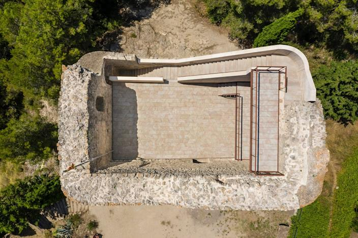 Aerial view of the renovated Castell de la Tossa.