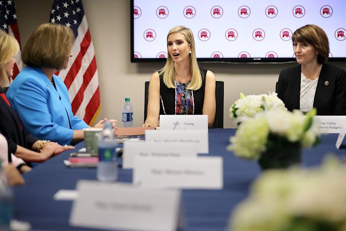 Ivanka Trump (center), daughter of Republican presidential nominee Donald Trump, meets with Rep. Cathy McMorris Rodgers (R-Wash.) and other women GOP members of Congress at the Republican National Committee headquarters on Capitol Hill on Sept. 20, 2016.