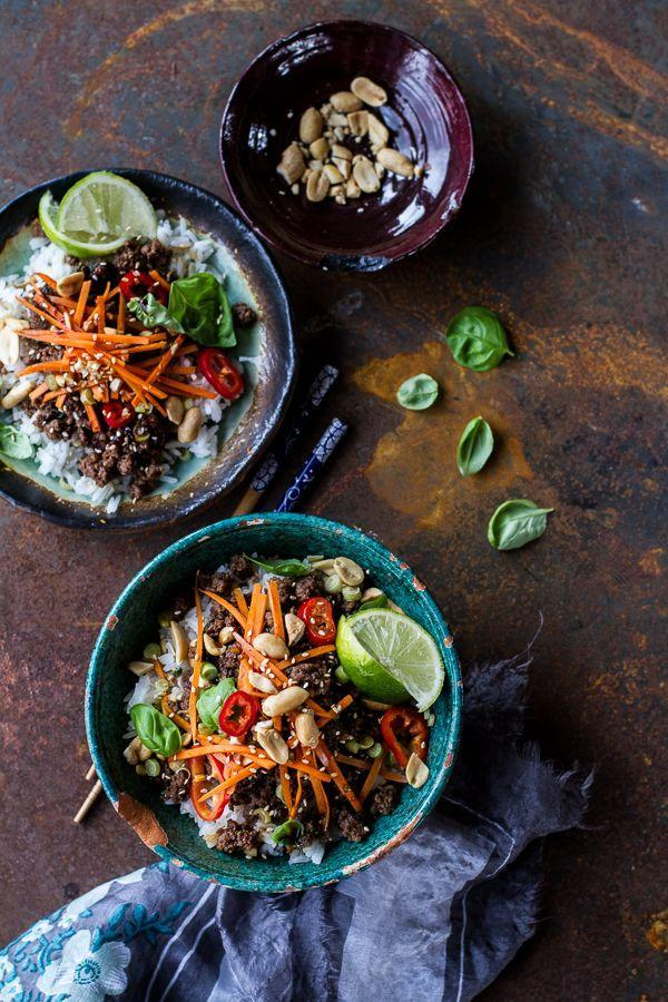 "<p>Coconut rice, peanuts, and chile sauce add a Thai-inspired flavor to this 20-minute rice bowl. </p><p><a href=""http://www.halfbakedharvest.com/20-minute-thai-basil-beef-lemongrass-rice-bowls/"" rel=""nofollow noopener"" target=""_blank"" data-ylk=""slk:Get the recipe from Half Baked Harvest »"" class=""link rapid-noclick-resp""><em>Get the recipe from Half Baked Harvest »</em></a></p>"