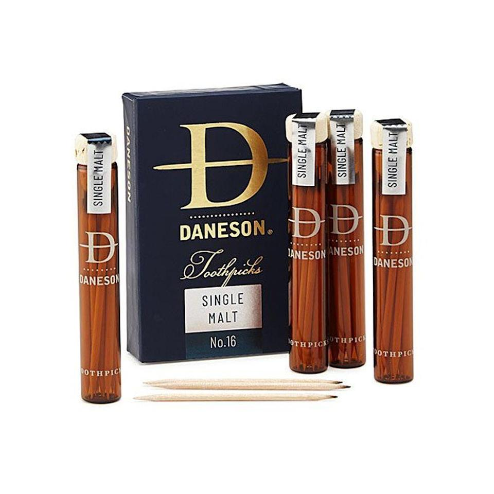 """<p><strong>Daneson</strong></p><p>uncommongoods.com</p><p><strong>$35.95</strong></p><p><a href=""""https://go.redirectingat.com?id=74968X1596630&url=https%3A%2F%2Fwww.uncommongoods.com%2Fproduct%2Fscotch-infused-toothpicks-gift-set&sref=https%3A%2F%2Fwww.bestproducts.com%2Flifestyle%2Fg1453%2Ffathers-day-gifts-ideas%2F"""" rel=""""nofollow noopener"""" target=""""_blank"""" data-ylk=""""slk:Shop Now"""" class=""""link rapid-noclick-resp"""">Shop Now</a></p><p>As your dad munches on some fruit and cheese while sipping his favorite scotch, he'll want to make sure his teeth stay gunk-free. Trust us, he'll love reaching for these <a href=""""https://www.bestproducts.com/eats/food/g3171/best-whiskey-gifts/"""" rel=""""nofollow noopener"""" target=""""_blank"""" data-ylk=""""slk:scotch-infused"""" class=""""link rapid-noclick-resp"""">scotch-infused</a> toothpicks after dinner.</p>"""