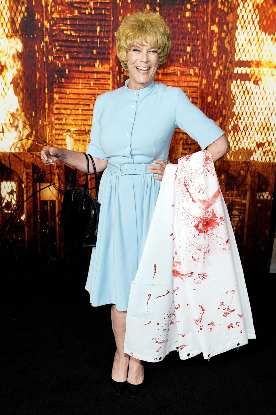 <p>Jamie Lee Curtis channels her mother Janet Leigh's character in <i>Psycho</i> at the premiere of <i>Halloween Kills</i> at the TCL Chinese Theatre in L.A. on Oct. 12. </p>